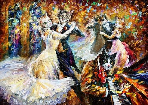 Danceball Of Cats - PALETTE KNIFE Oil Painting On Canvas By Leonid Afremov by Leonid Afremov