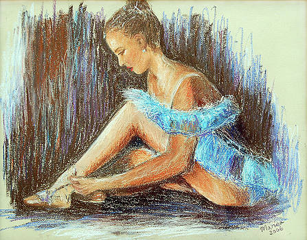 Dancer adjusting her slipper by Marina Garrison