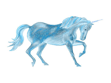 Dancing Blue Unicorn by Elizabeth Lock