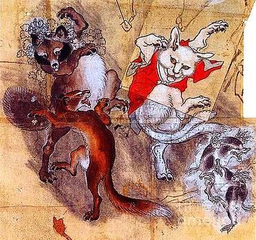Peter Ogden - Japanese Meiji Period Dancing Feral Cat with Wild Animal Friends