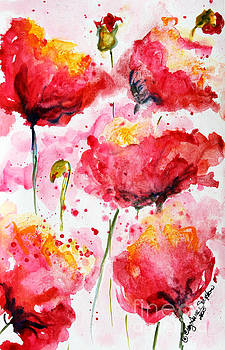 Dancing Poppies Galore watercolor by CheyAnne Sexton