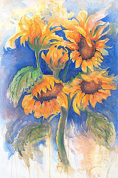 Dancing SunFlowers watercolor by CheyAnne Sexton