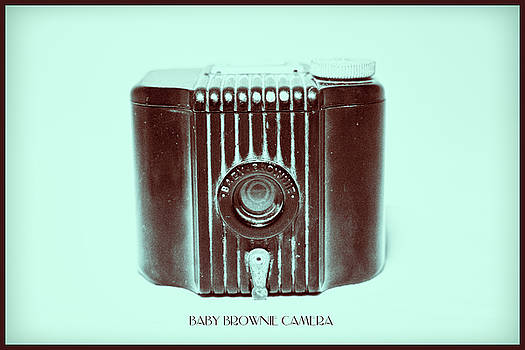 Dark Brown Sepia and Turquoise Art Deco Baby Brownie by Tony Grider