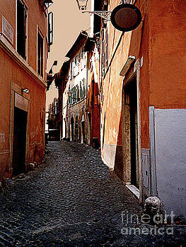 Dark Dingy Street in the Old Roman Ghetto - Italy by Merton Allen