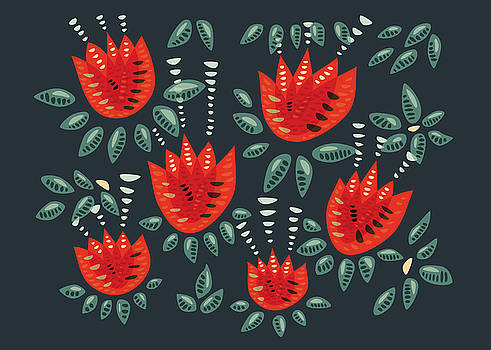 Dark Floral Pattern Of Abstract Red Tulips by Boriana Giormova