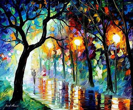Dark Night - PALETTE KNIFE Oil Painting On Canvas By Leonid Afremov by Leonid Afremov