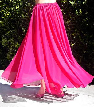 Sofia Metal Queen - Dark-pink chiffon skirt. Ameynra style by Sofia