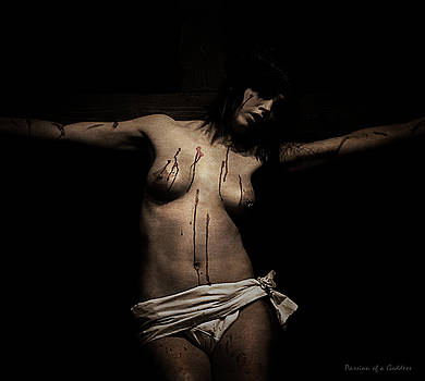 Dark portrait of a female Jesus III by Ramon Martinez