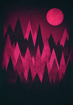 Dark Triangles - Peak Woods Abstract Grunge Mountains Design in red black by Philipp Rietz