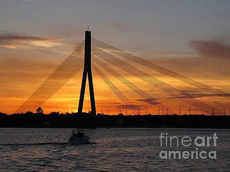 Daugava Sunset. Riga. Latvia by Ausra Huntington nee Paulauskaite