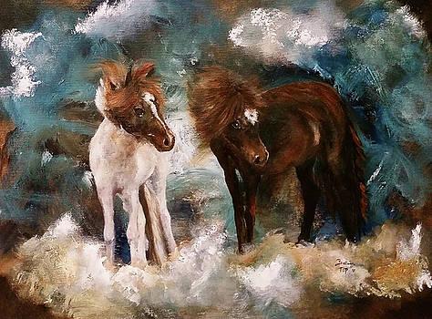 David Bowie and Iggy Pop Miniature  Horses by Barbie Batson