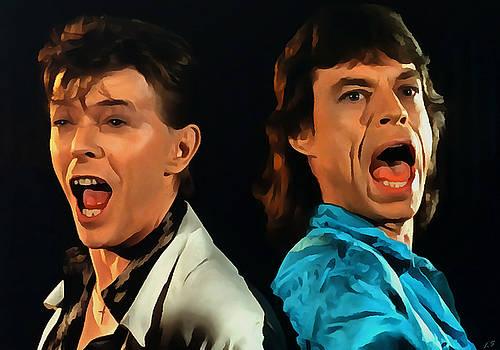 David Bowie and Mick Jagger by Sergey Lukashin