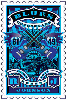 David Cook UMGX Vintage Studios Blues Crossroads Illustrated Stamp Art Poster by David Cook  Los Angeles Prints