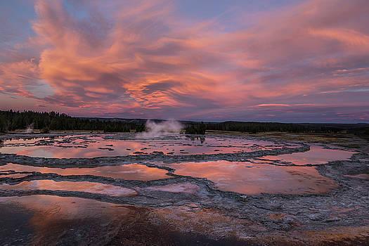 Dawn at Great Fountain Geyser by Roman Kurywczak