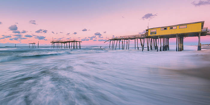 Ranjay Mitra - Dawn at Outer Banks Fishing Pier in Frisco Panorama