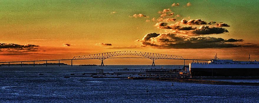 Bill Swartwout Fine Art Photography - Dawn Breaks over the Francis Scott Key Bridge in Baltimore