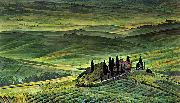Dawn In Tuscany Italy by Russ Harris