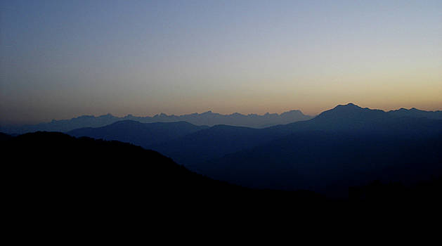 Dawn view of the Garhwal Himalayas from Kunjapuri Temple, India by Misentropy