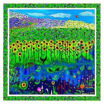 Day and Night in a Sunflower Field with Floral Border by Angela Annas