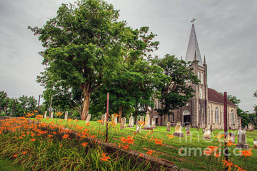 Larry Braun - Day Lilies by a Church