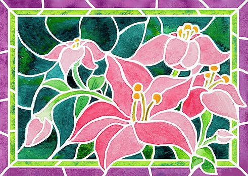 Day Lilies In Stained Glass by Janis Grau