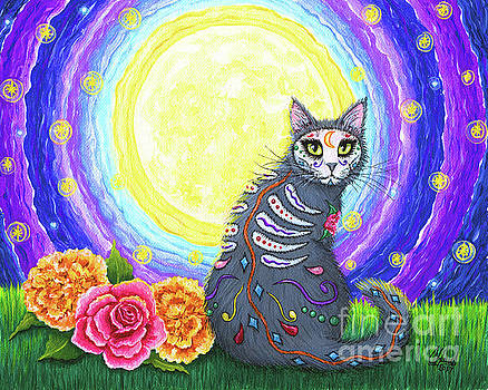 Day of the Dead Cat Moon - Dia de los Muertos Gato  by Carrie Hawks