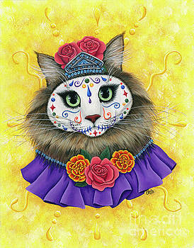 Day of the Dead Cat Princess - Dia de los Muertos Gato by Carrie Hawks