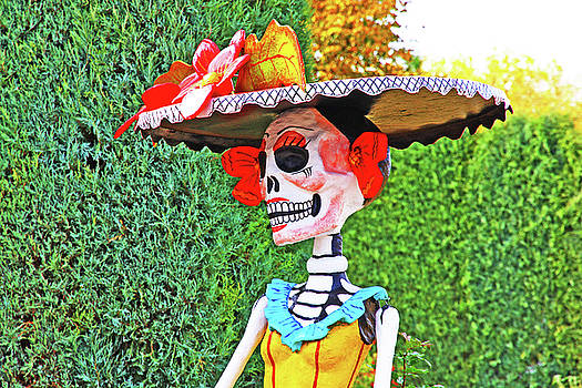 Day of the Dead Head Skeleton Yellows, Reds, Greens and Whites 2 10292017 by David Frederick