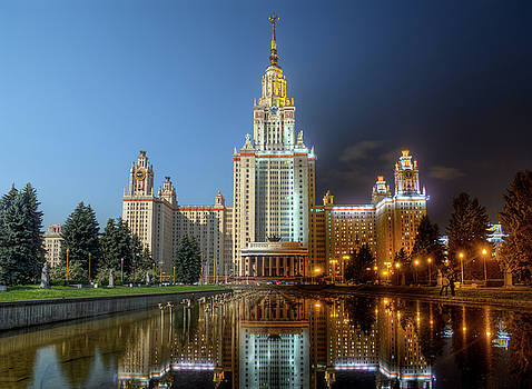 Day to night at Lomonosov Moscow State University by Alexey Kljatov