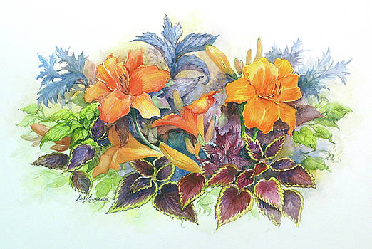 Daylilies and Coleus  by Lois Mountz