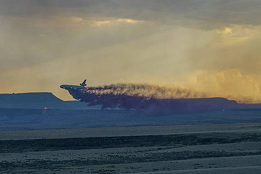 DC-10's first retardant drop in South Dakota by Bill Gabbert