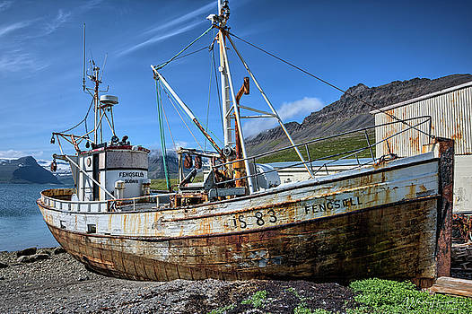 Decaying Ship, Iceland - 8422,HS by Wally Hampton