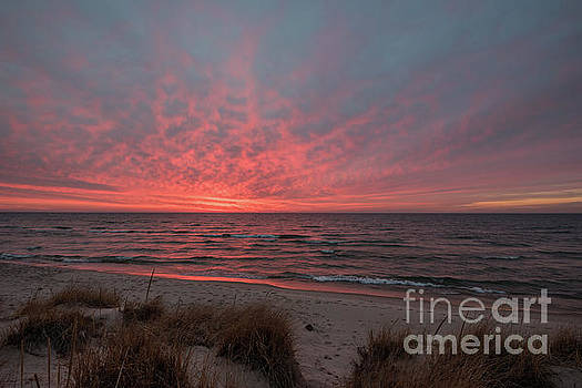 December Sunset on Lake Michigan by Sue Smith