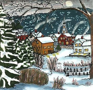 December Village Silk Painting by Linda Marcille