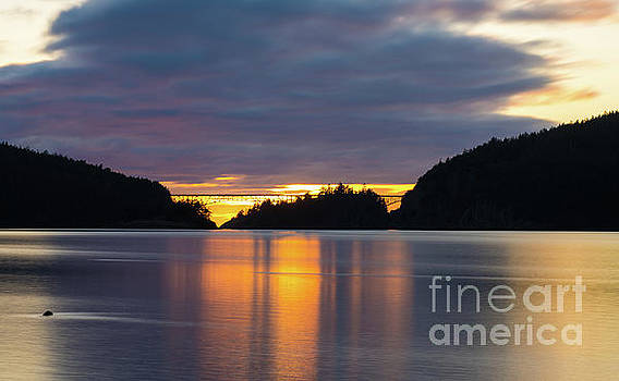 Deception Pass Bridge Sunset Reflection by Mike Reid