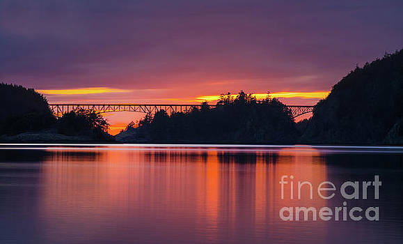 Deception Pass Bridge Sunset Serenity by Mike Reid