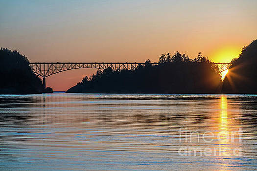 Deception Pass Bridge Sunset Sunstar by Mike Reid