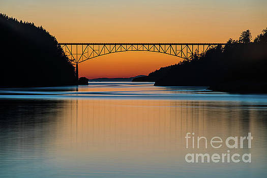 Deception Pass Bridge Sunset Tranquility by Mike Reid
