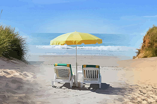 Deck Chairs On The Beach Montage by Clive Littin