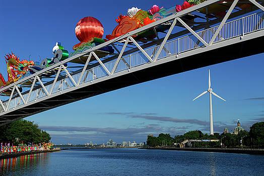 Reimar Gaertner - Decorated Ontario Place footbridge and the Toronto wind turbine