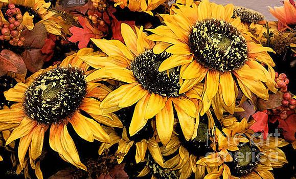 Decorative Autumn Sunflowers Mixed Media A172016 by Mas Art Studio