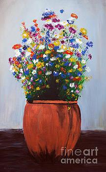 Impressionist Wildflower Garden Painting A103017 by Mas Art Studio