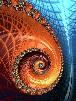 Decorative Fractal Spiral orange coral blue by Matthias Hauser
