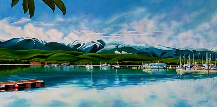 Deep Bay Marina with Comox Mountain Range in the Background by Elissa Anthony