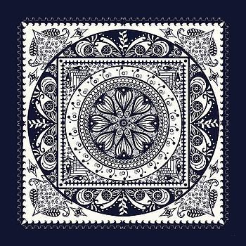 Deep Blue Classic Mandala by Deborah Smith