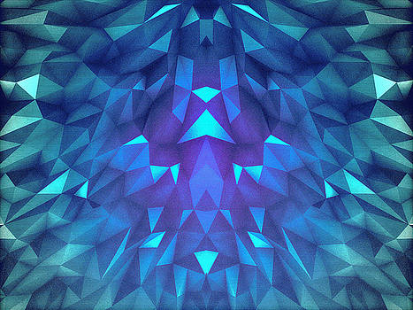 Deep Blue Collosal Low Poly Triangle Pattern  Modern Abstract Cubism  Design by Philipp Rietz