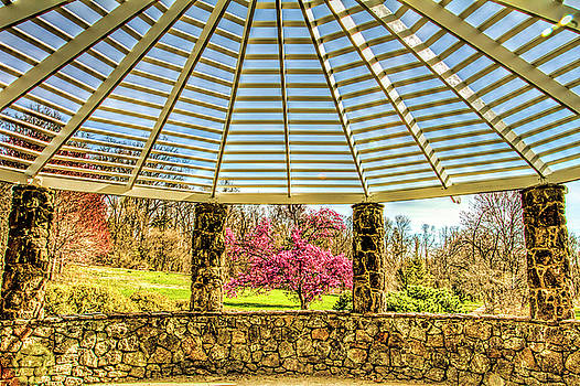 Deep cuts Garden Middletown New Jersey spring gazebo close up  by Geraldine Scull