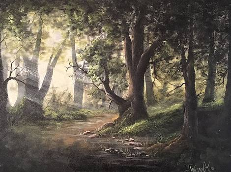Deep forest rays  by Paintings by Justin Wozniak