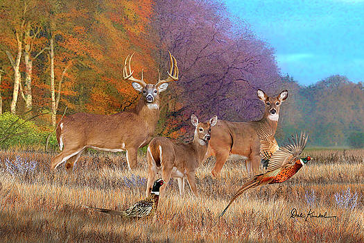 Deer Art - October Whitetails by Dale Kunkel Art