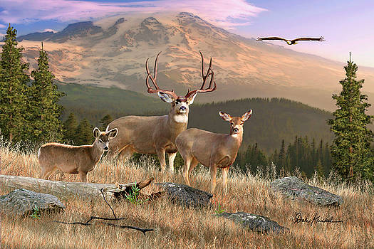 Deer Art - Wilderness Family by Dale Kunkel Art